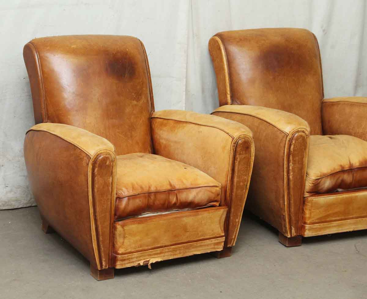 Pair of vintage french leather club chairs olde good things for Pair of chairs for living room