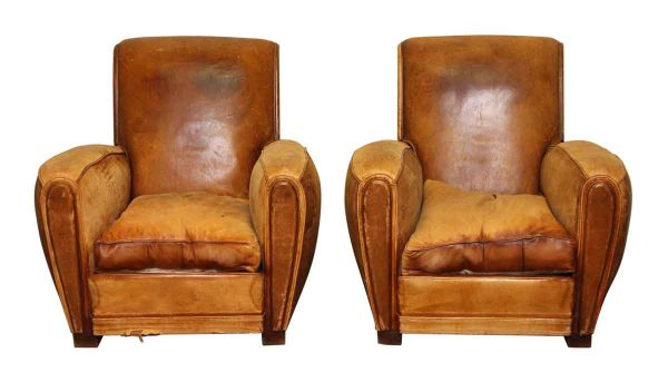 Pair of Vintage French Leather Club Chairs - Living Room