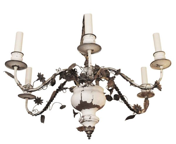 1930s Painted Italian Wood & Gilt Metal Six Arm Chandelier - Chandeliers