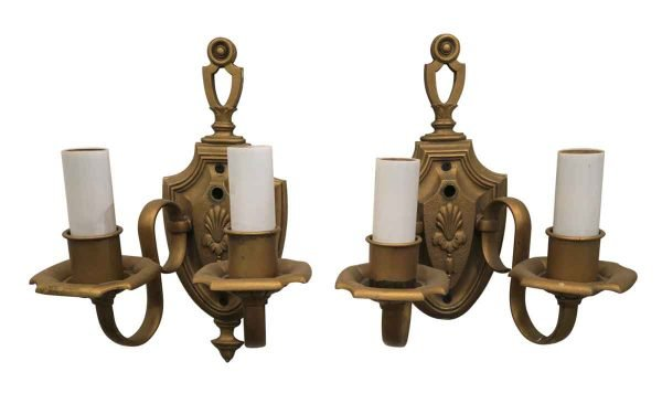 1920s Pair of Floral Two Arm Sconces - Sconces & Wall Lighting