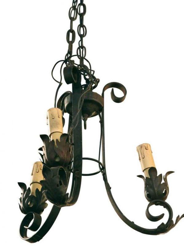 Wrought Iron Three Light Chandelier - Chandeliers