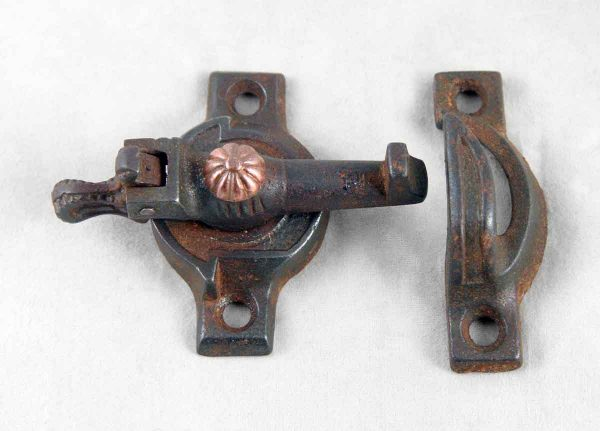 Cast Iron Victorian Window Latch With Copper Detail - Window Hardware