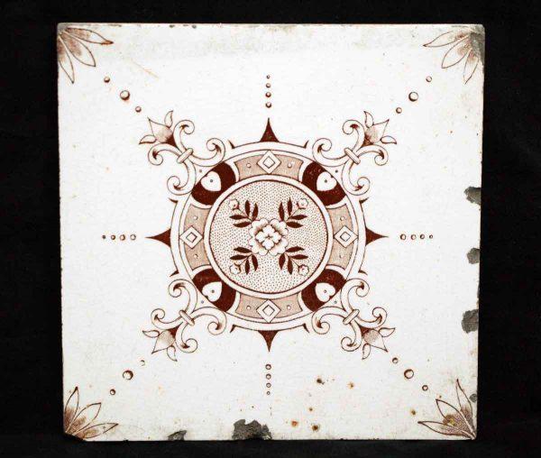White Tile Set with Brown Geometric Print - Wall Tiles