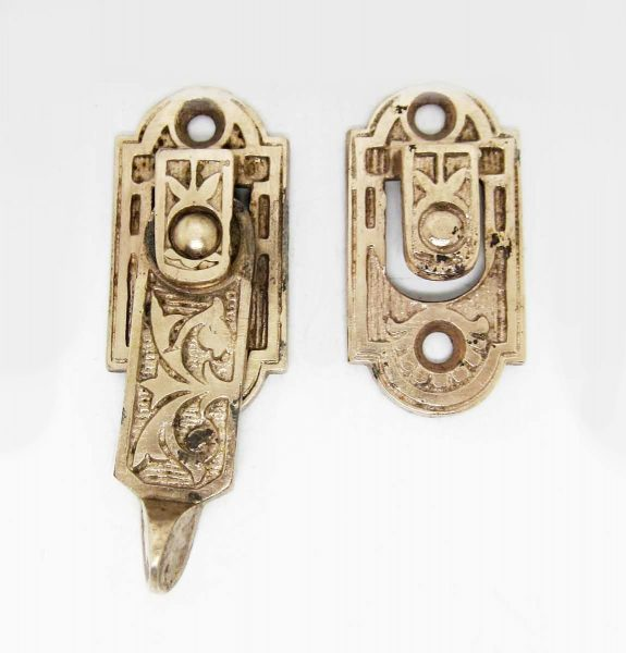 Cast Iron Victorian Shutter Latch with Ornate Pattern - Window Hardware
