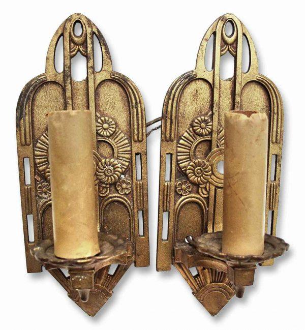 Art Deco Bronze Over Iron Sconces