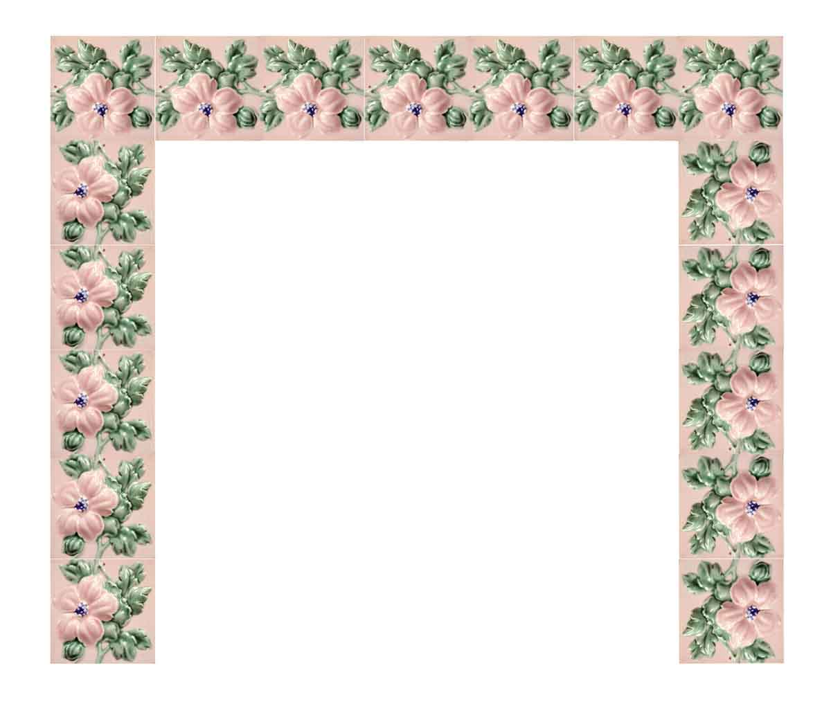 Pink Raised Floral Fireplace Surround Olde Good Things