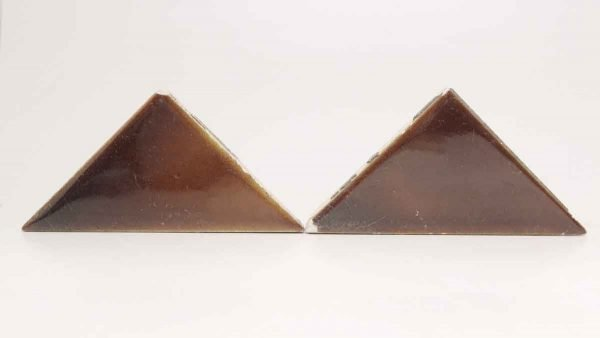 Set of Four Brown Shiny Triangle Tiles