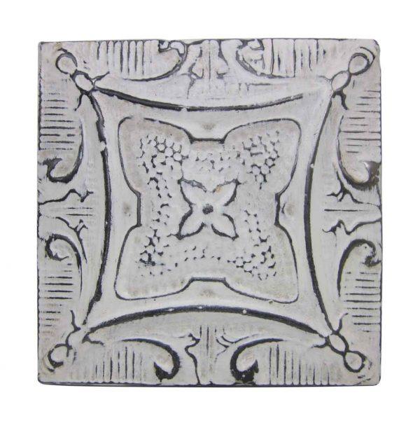 Antique White Four Leaf Flower Tin Panel - Tin Panels