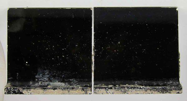 Pair of Black Inside Baseboard Tiles - Bull Nose & Cap Tiles