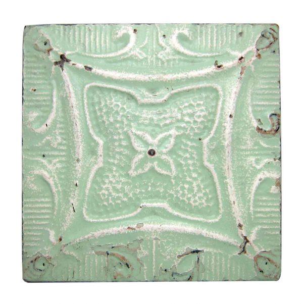 Mint Green Four Leaf Flower Tin Panel - Tin Panels