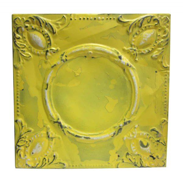 Yellow Beaded Ovals Tin Panel - Tin Panels