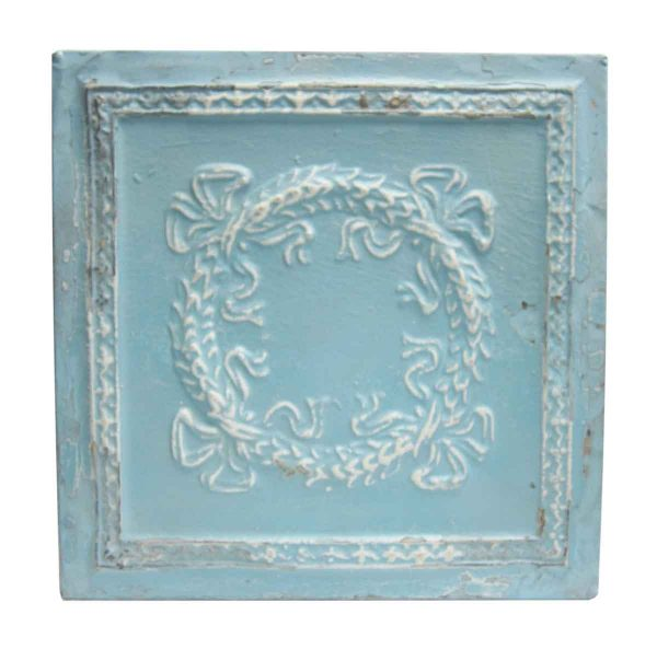 Sky Blue Wreath Tin Panel - Tin Panels