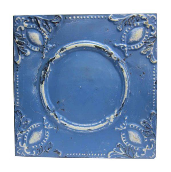 Blue Beaded Oval Blue Tin Panel - Tin Panels