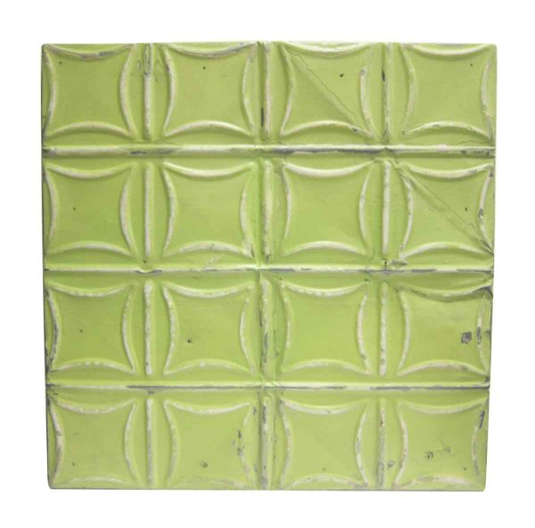 Lime Green Curved Squares Tin Panel - Tin Panels