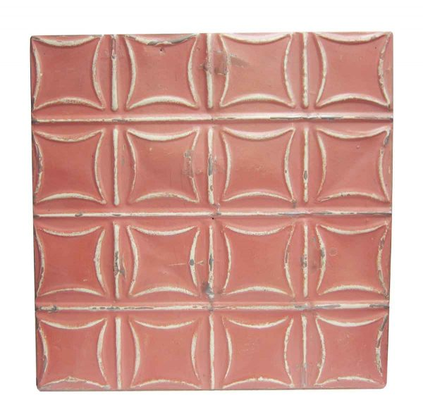Red Curved Squares Tin Panel - Tin Panels