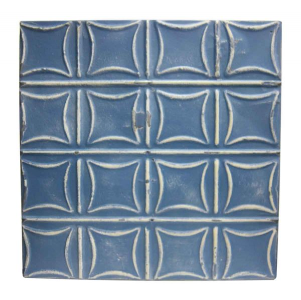 Royal Blue Curved Squares Tin Panel - Tin Panels