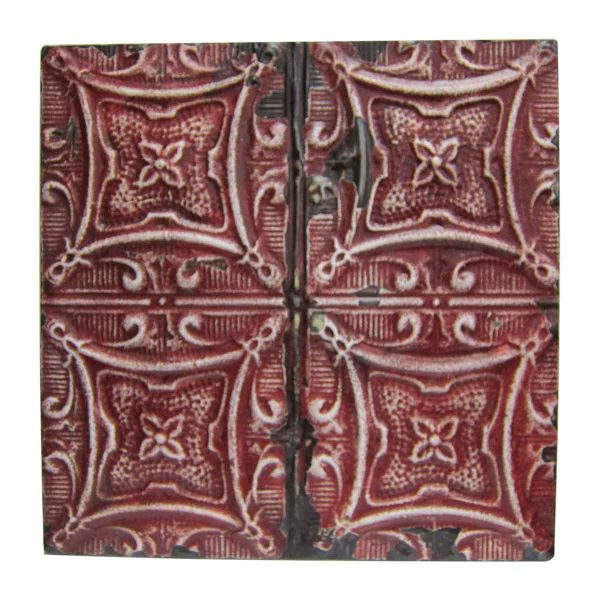 Red Four Leaf Flower Tin Panel - Tin Panels