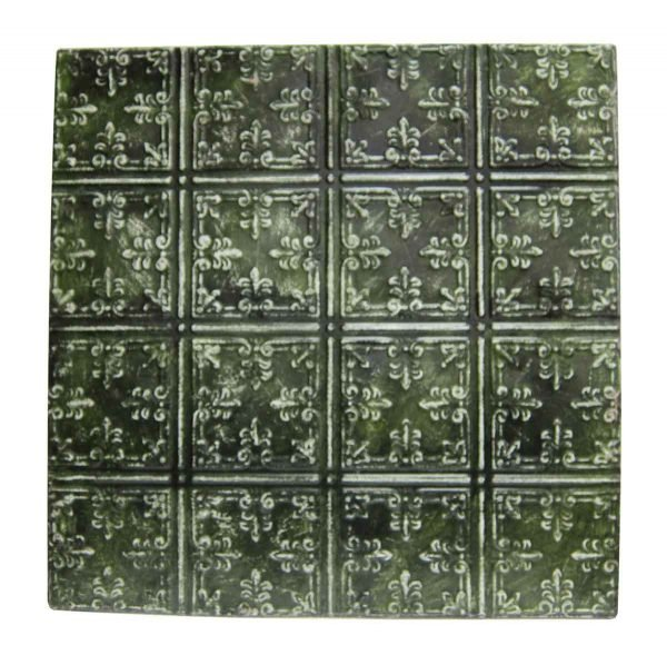 Moss Green Fleur de Lis Tin Panel - Tin Panels