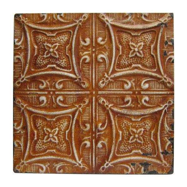 Orange Four Leaf Flower Geometric Tin Panel - Tin Panels
