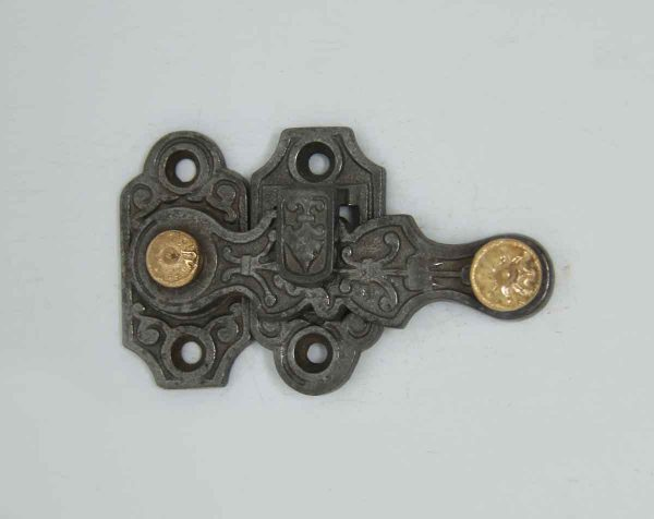 Cast Iron Shutter Latch with Aesthetic Detail - Window Hardware