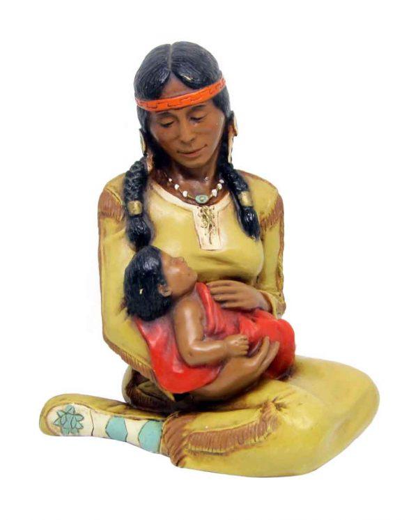Indian Mother & Infant Plaster Figurine - Statues & Sculptures