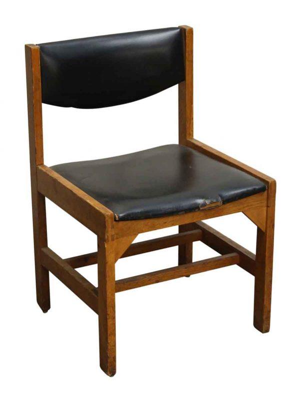Wood & Black Vinyl Chair