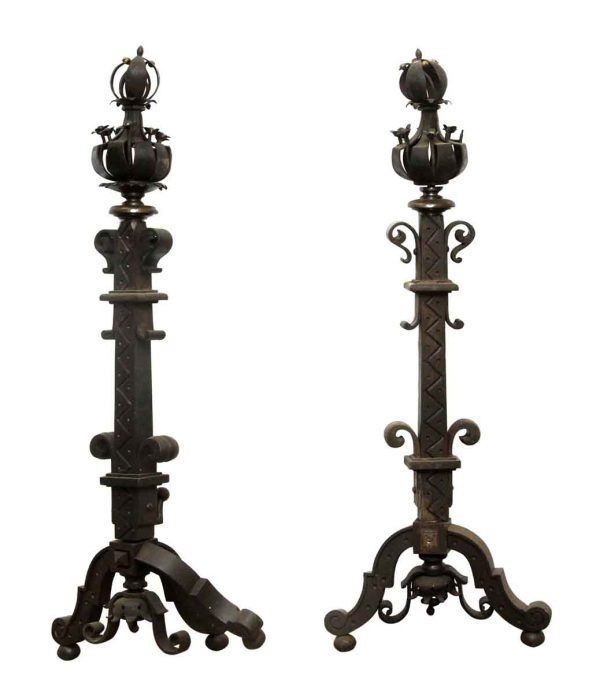 Fantastic Pair of Wrought Iron Andirons