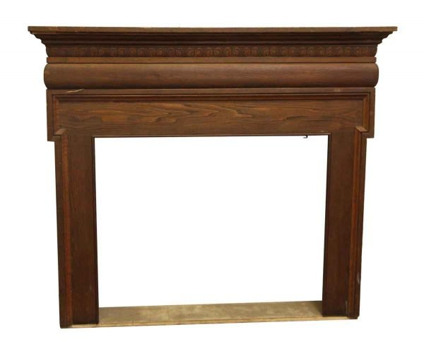 Classic Style Oak Fireplace Mantel with Carved Detail - Mantels