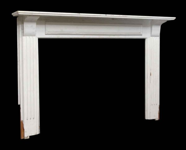 Simple American White Painted Wooden Mantel - Mantels