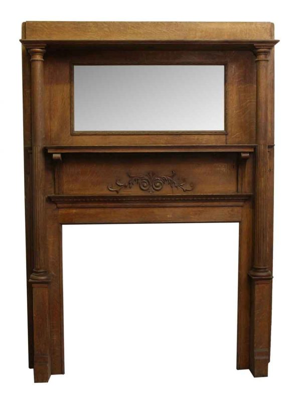 Victorian Oak Mantel with Carved Floral Details - Mantels