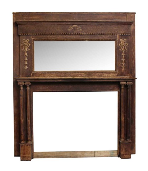 Wide Two Tier Wooden Mantel with Carved Detail - Mantels