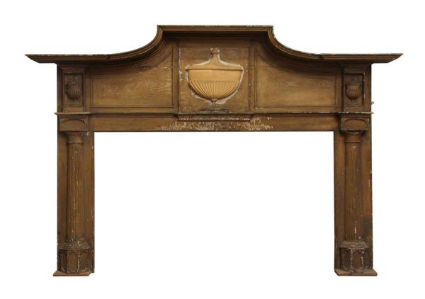 Early Primitive Wooden Mantel with Urn Detail - Mantels