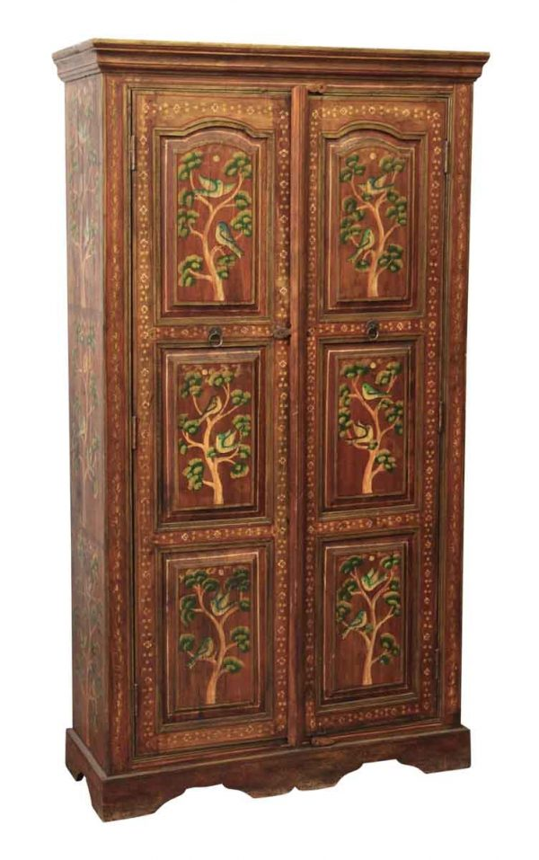 Hand Painted Wooden Armoire - Armoires & Vitrines