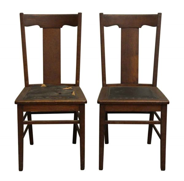 Pair of Oak Chairs with Studded Leather Seats - Seating
