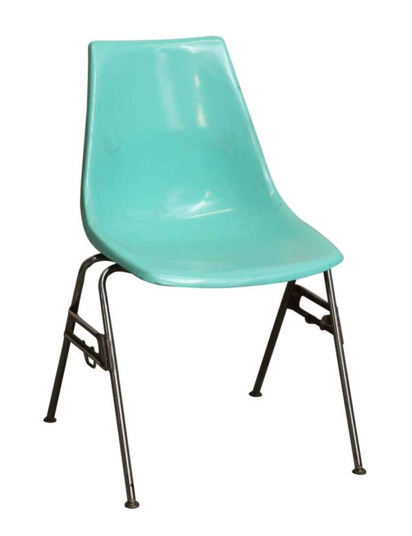 Set of Six Teal Plastic Chairs - Kitchen & Dining