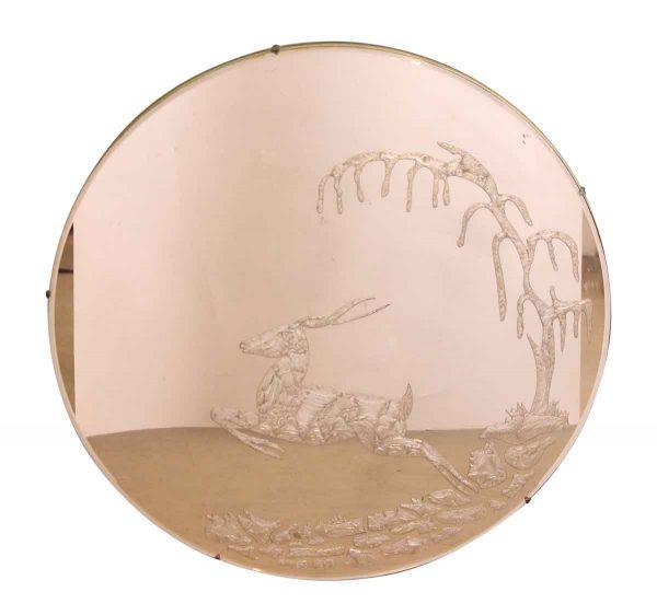 Etched Round Deer Mirror - Antique Mirrors
