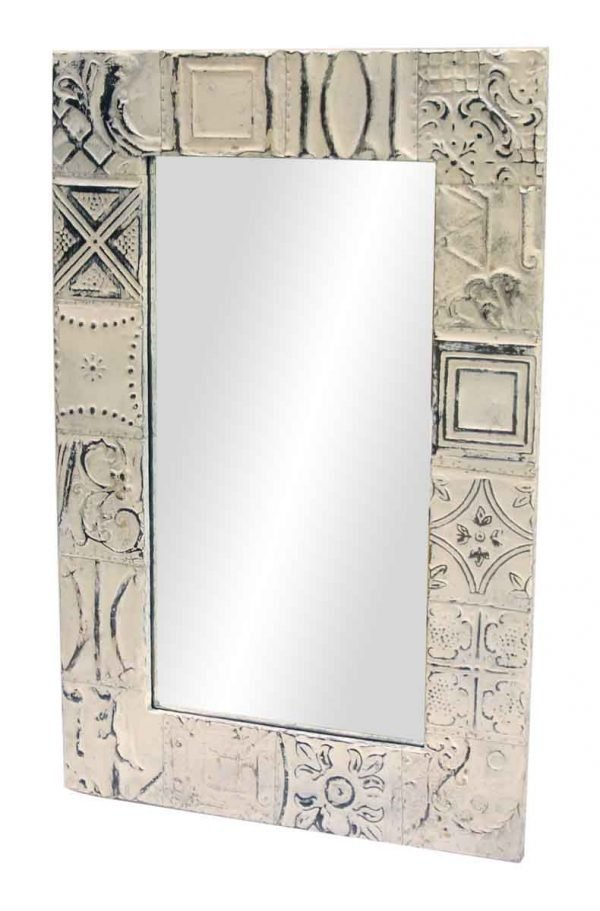 Mixed Patch Pattern Antique Tin Mirror - Antique Tin Mirrors