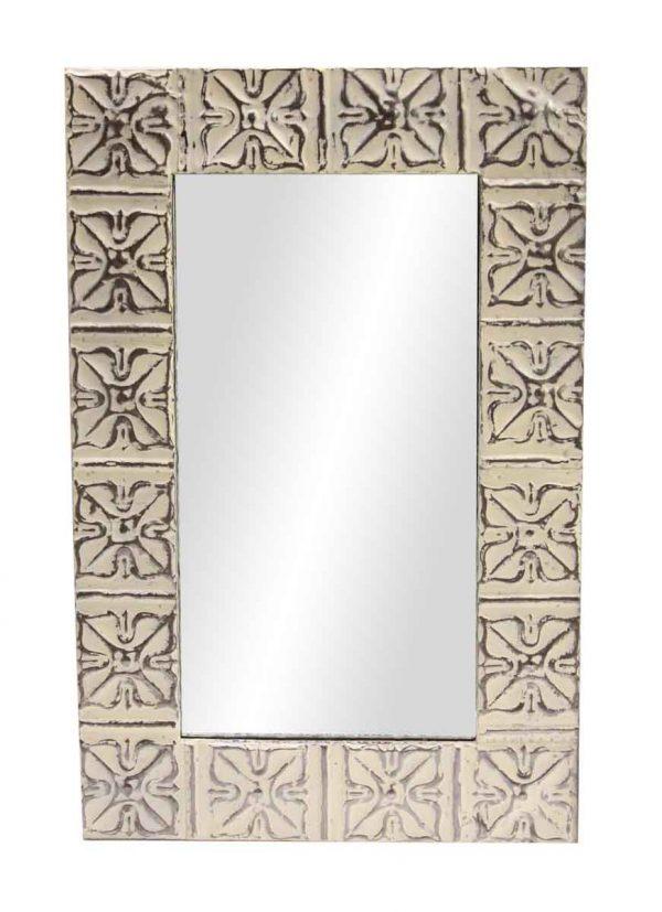 White Snowflake Tin Mirror - Antique Tin Mirrors