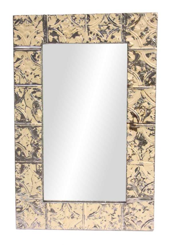 Cream Diamond Tulip Tin Panel Mirror - Antique Tin Mirrors