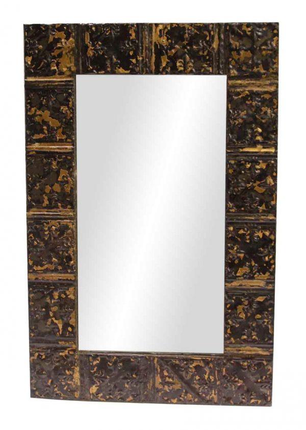 Brown Mini Flutes Tin Panel Mirror - Antique Tin Mirrors