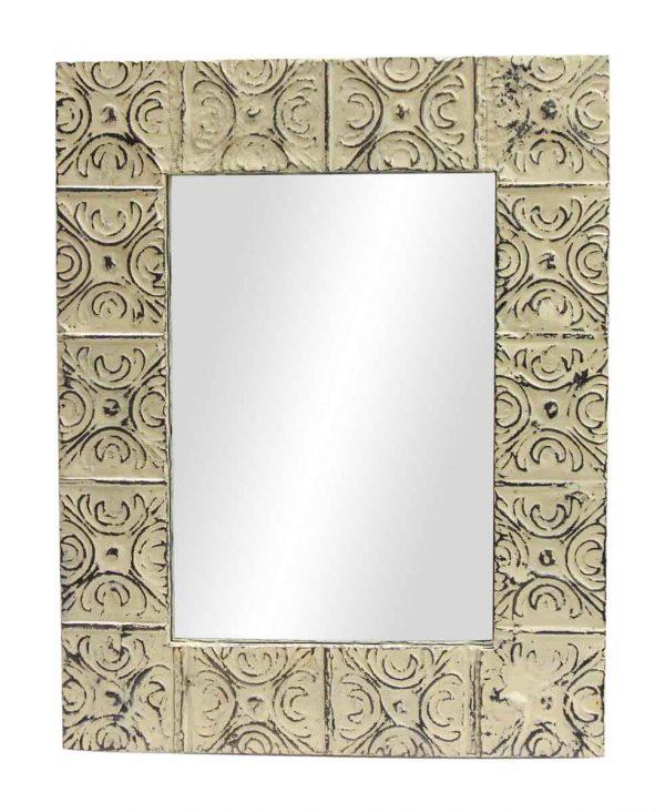 Cream Snowflake Tin Panel Mirror - Antique Tin Mirrors