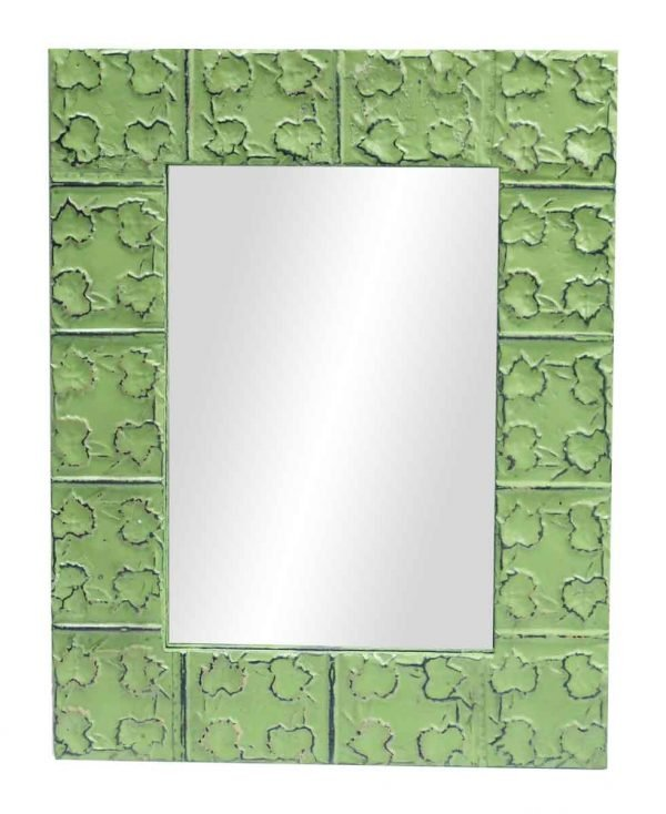 Cross & Leaves Lime Green Tin Mirror - Antique Tin Mirrors