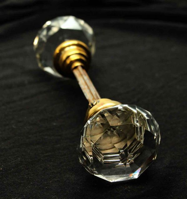 Cut Crystal Knob Set with Etched Center - Door Knobs