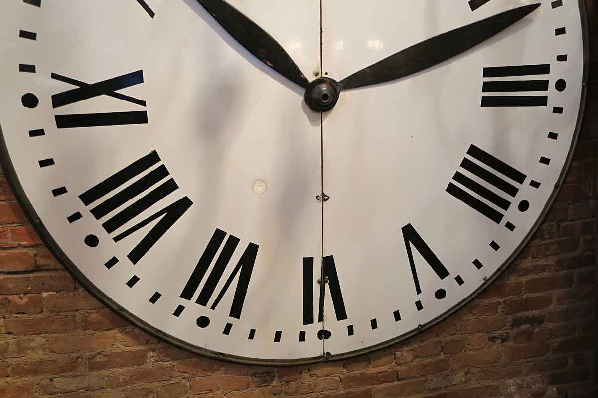 Large Enamel Steel Clock Face With Wooden Hands Olde