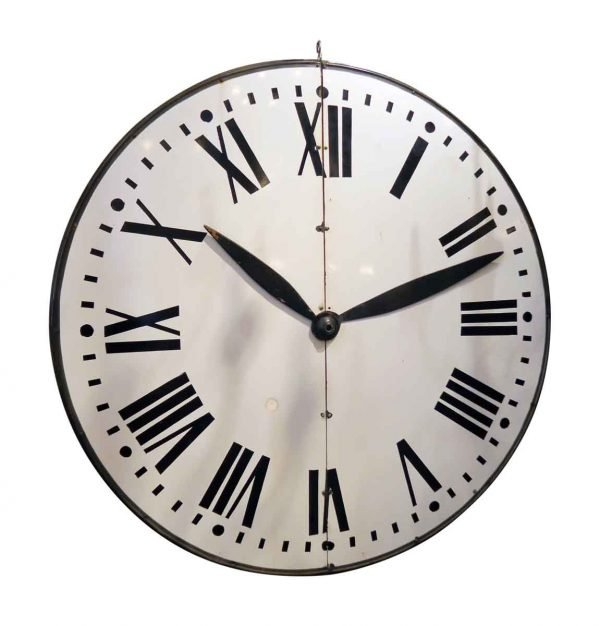 Large Enamel Steel Clock Face with Wooden Handles - Clocks