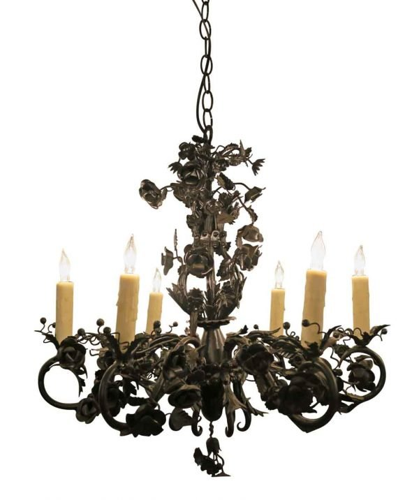 Black Rose Wrought Iron Floral Chandelier - Chandeliers