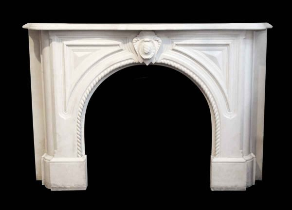Heavily Carved White Marble Mantel from the West Village - Mantels