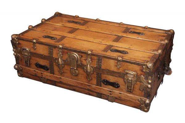 Old Refinished Large Vintage Trunk - Trunks