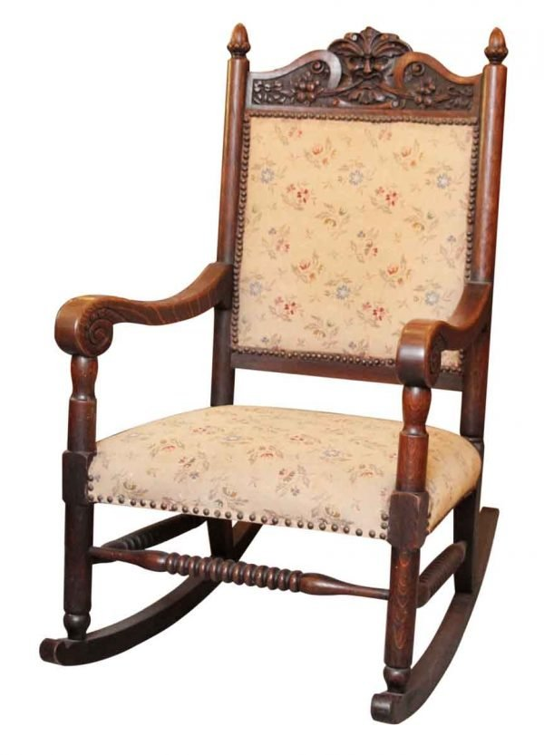 Figural Carved Rocking Chair with Floral Upholstery - Seating