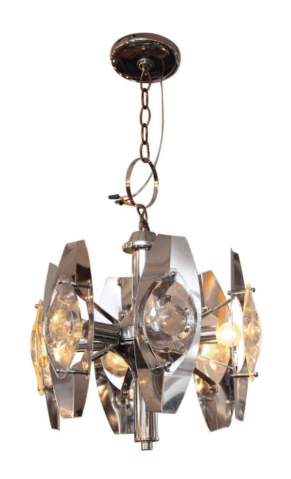 Mid-Century Modern Chrome Over Brass Six Arm Light - Chandeliers